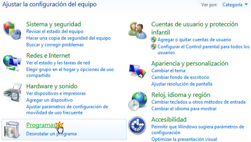 como ingresar a panel de control en windows seven