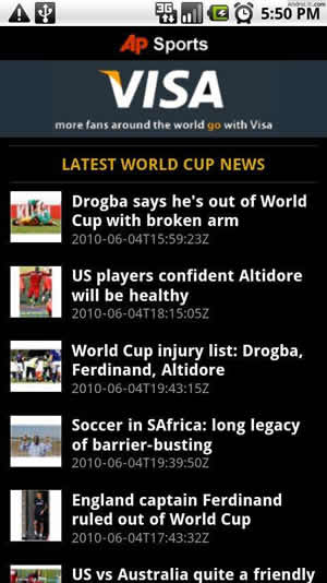 ap 2010 world cup android