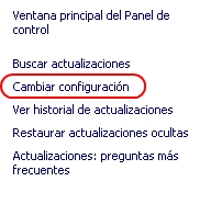 cambiar la configuracion de Windows Update